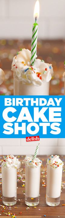 Tag the birthday girl who needs these Birthday Cake Shots. Get the recipe from Delish.com.