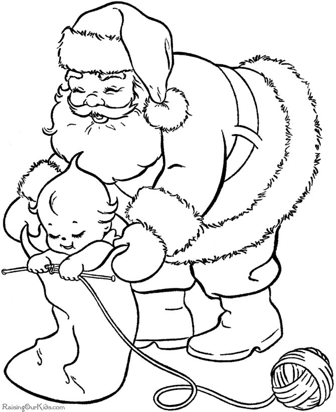Free Printable Santa coloring pages - Filling stockings