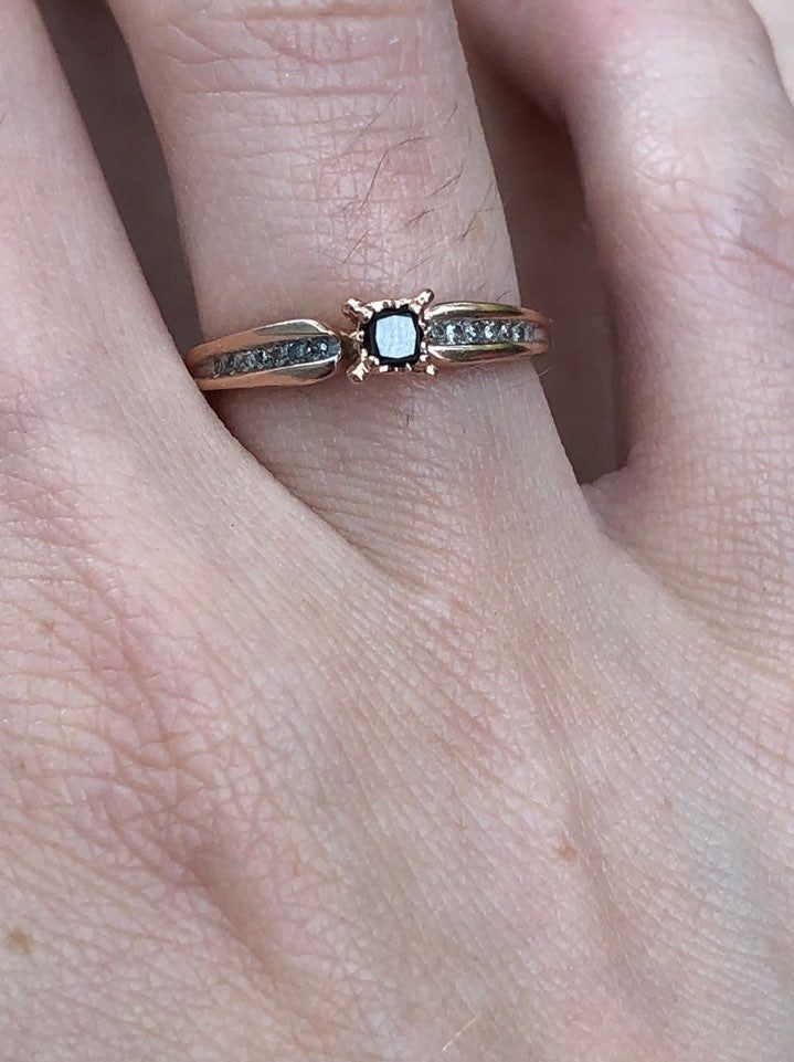Last Price Reduction Solid 10k Rose Gold 1 6 Diamond Ring From Zales The Center Is A Enhanced Black Diamon Sterling Silver Diamond Rings Rings Zales Rings