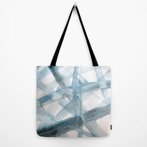 Tote bag with mint blue brushstrokes