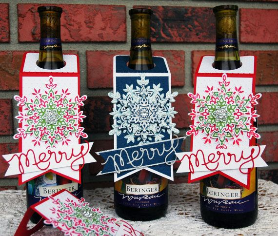 Christmas Wine Tags  Bottle Tags by BecraftyStamps on Etsy  #Christmas #winetags