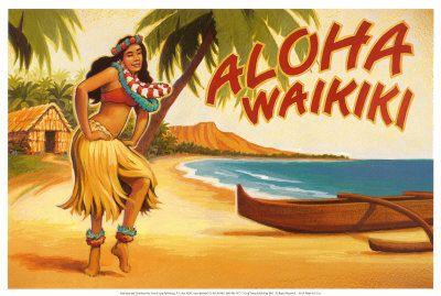 Say Aloha Waikiki! Hawaii vintage postcard with Hula girl, outrigger canoe, and Diamond Head in the background.