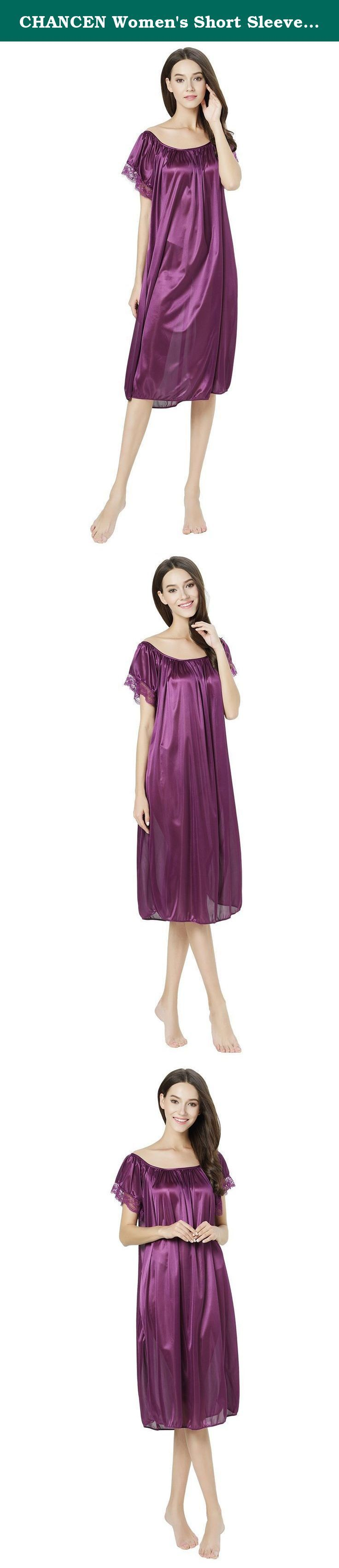 CHANCEN Women's Short Sleeve Lace Trim Satin Silky Long Nightgown Sleepwear Dress (Purple). 100% polyester. Lace trim short sleeves. Silky feeling. Total length:39 inches. One size fits XS-L. Total length:39 inches; The armholes are about 15.7 inches. Most women could get them on.