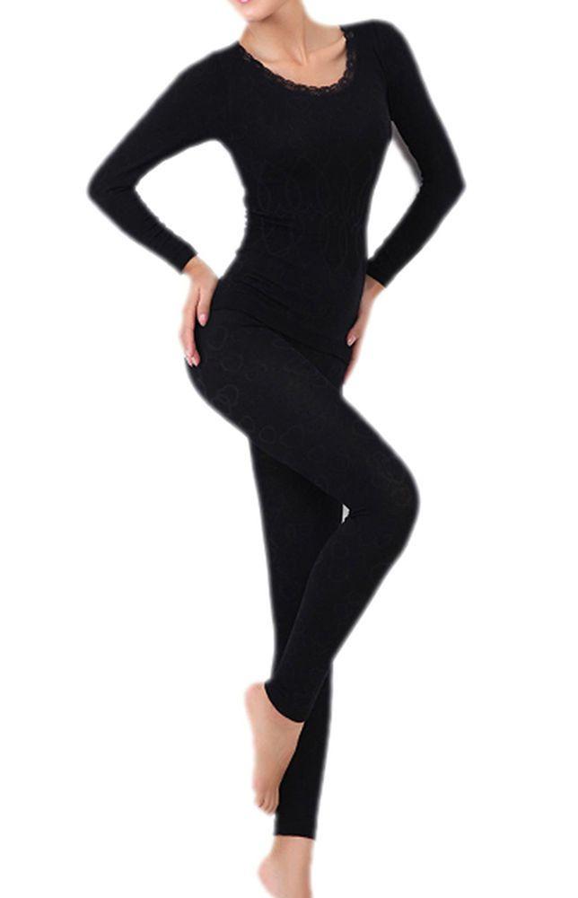 Women Thermal Base Layer Long Sleeves Shirt Pants Set Underwear Sleepwear WS