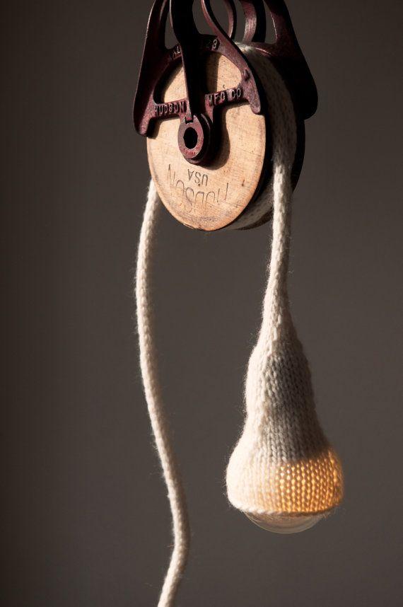 Beautiful Sweater Light Handknit Pendant Light by stitchandsalvage on Etsy