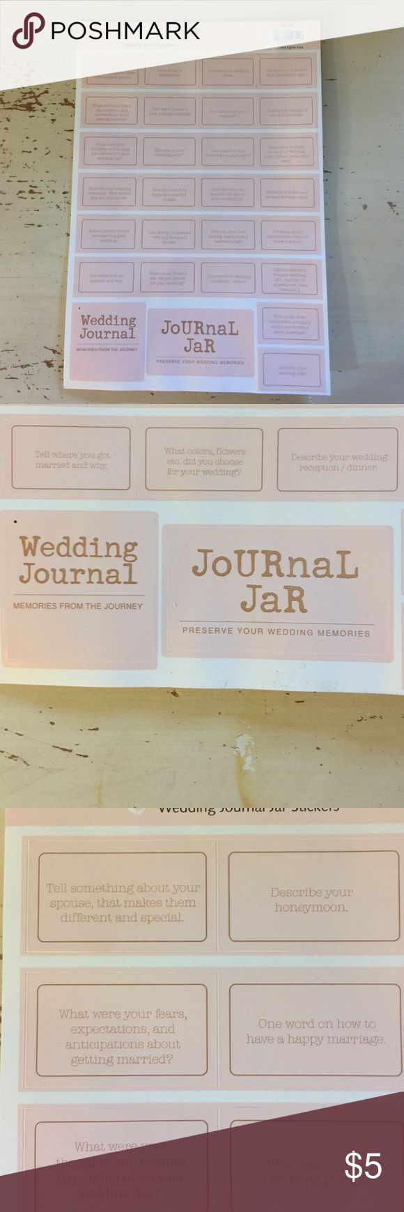 Scrapbook Wedding Journal or Jar This is an activity you make for your wedding. You make for yourself or as a gift. Decorate a glass mason jar, with the Journal Jar on top or on the front. Make cards & put each sticker on, and place in the jar. Then design a Wedding Journal, where you answer the questions taken from the jar. Put the Wedding Journal in the front. See photos for some of the questions, memories. Rusty Pickle Other