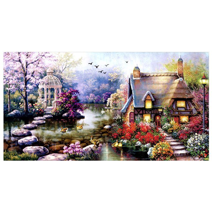DIY 5D Diamond Mosaic Landscapes Garden lodge Full Diamond Painting Cross Stitch Kits Diamonds Embroidery Home Decoration zx