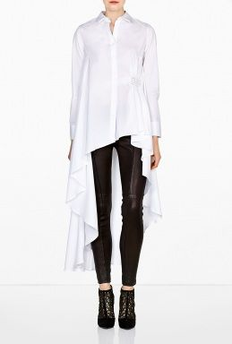 Cotton Poplin Long Back Asymmetric Shirt by palmer//harding