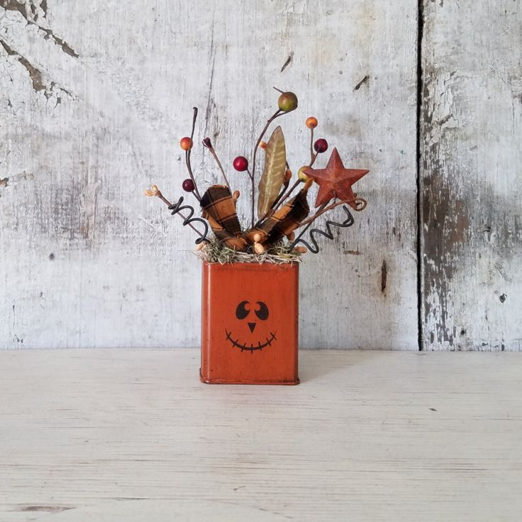 Pumpkin Tin, Primitive Fall Decor, Vintage Tin, Jack O' Lantern, Country Fall Decor, Halloween Decoration, Rustic Fall Decor, Pip Berries by FlatHillGoods on Etsy