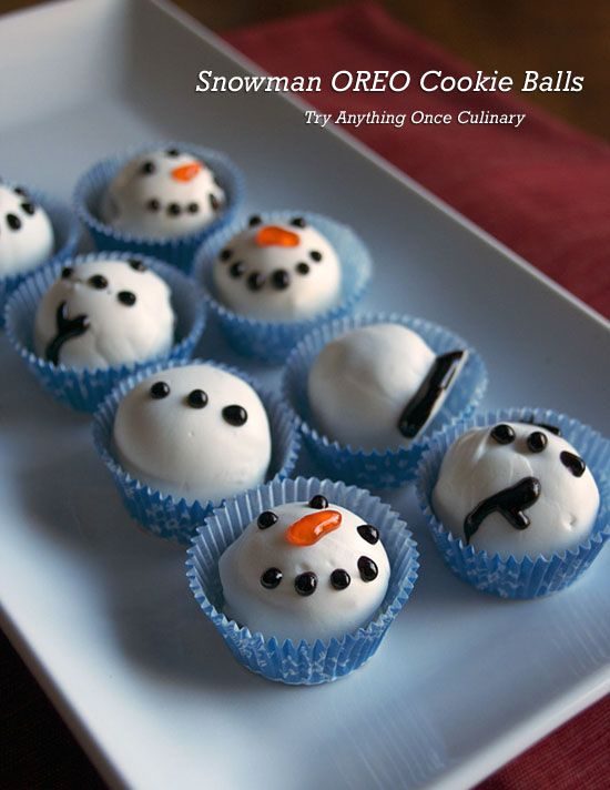 Fun holiday cookies: Snowman OREO Cookie Balls from @tryanything1. Easy to make, nothing to bake! #OREOCookieBalls #ad