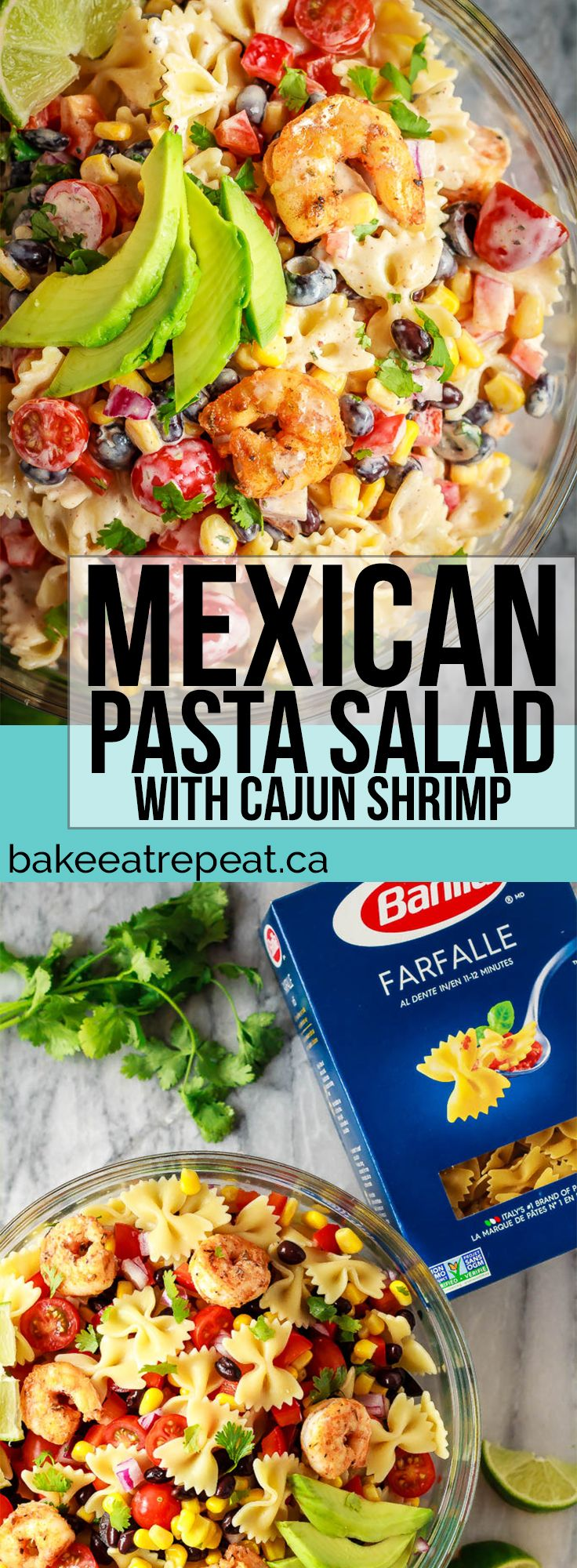 This Mexican pasta salad with cajun shrimp is perfect for summer - easy to make, the whole family will love it, and it can even be made ahead of time! #ad @BarillaCan