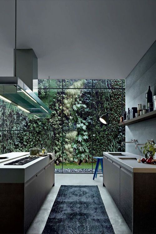 I like the full glass wall (is sections with other section having bi-folds to open up to the outside.