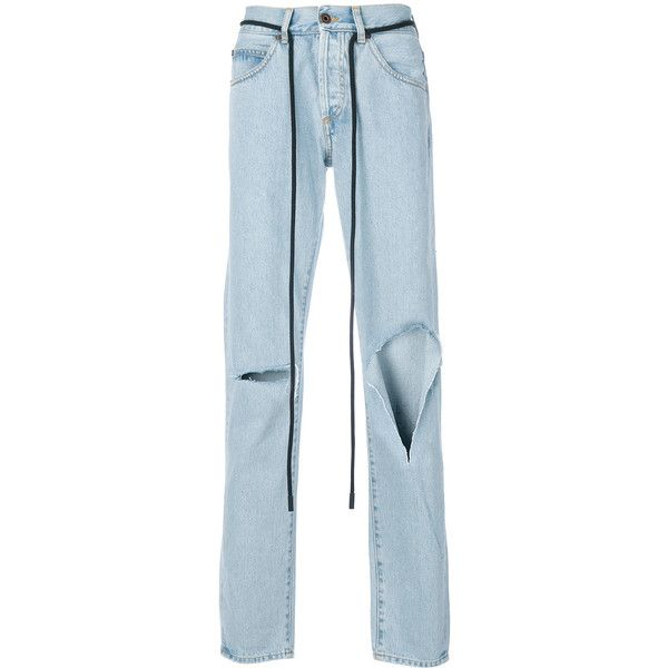 Off-White Diag raw cut jeans ($610) ❤ liked on Polyvore featuring men's fashion, men's clothing, men's jeans, bottoms, blue, jean, mens destroyed jeans, mens blue jeans, mens torn jeans and mens ripped jeans