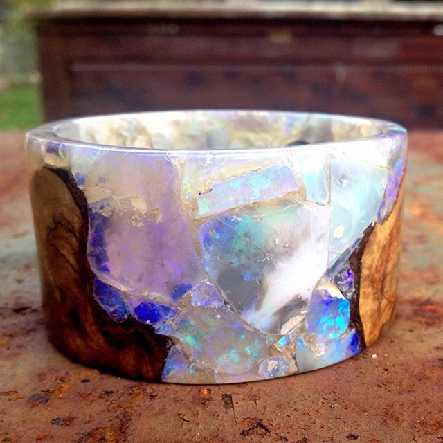Heavens!! Another Manic Monday is over --- #freestonepeach #wood and #gem #bangle (pun or apropos) #opal #maple #artisanaljewelry
