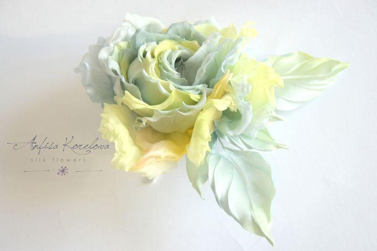 Роза из шелка Лимон и Шалфей