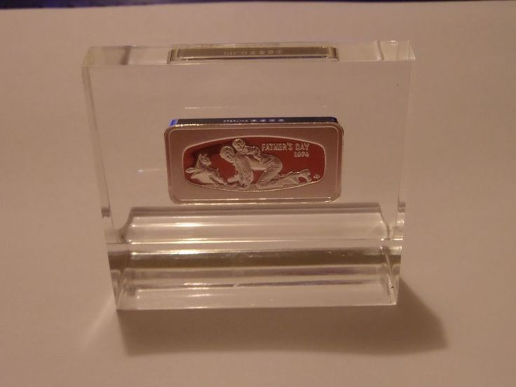 1974 Franklin Mint Father's Day Sterling Silver Proof Bar In Lucite
