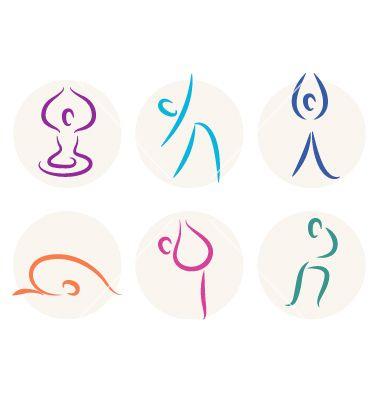 Yoga stick figure icons or symbols vector