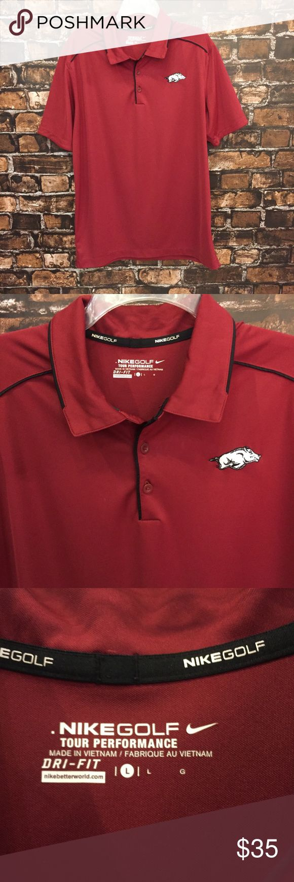 Men's Nike Golf Razorback Polo! Sz Large. ❤️🐗🏌🏽 This is the perfect Dri-Fit Polo for golf or tailgating! Show your Hog Pride with this comfy shirt. In like new condition!! **super small spot close to the buttons. Pictured above.** (MT22) Nike Shirts Polos