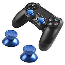 Thumbsticks Analog Bullet Button Aluminum Custom Metal Playstation 4 DualShock 4 Replacement PS4 Joystick Thumb Sticks Buttons Hats Spare Parts Accessories Modded PS4 Controllers Bullet Blue