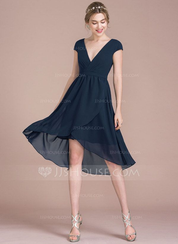 A-Line/Princess V-neck Asymmetrical Chiffon Bridesmaid Dress try in champagne