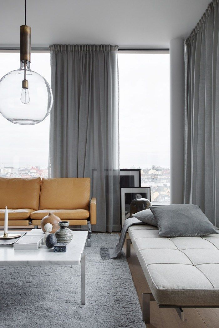 Grey and light brown chic and minimal living room