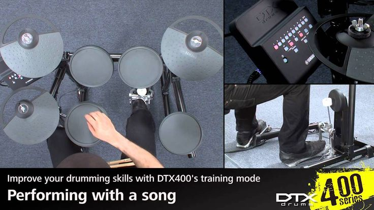 Yamaha Electronic drums DTX400 Series Training Function – Performing with a song The DTX400 comes complete with ten musical practice songs that cover a wide range of genres.  They provide a convenient, enjoyable way to practice drumming and you can vary the tempo to suit your...
