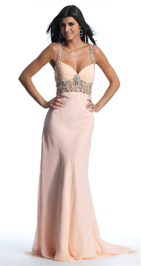 Dave and Johnny 10216 Blush Beaded Long Formal Prom Dresses 2017
