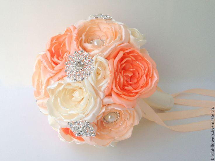 Брошь букет невесты. Персиковые пионы в интернет-магазине на Ярмарке Мастеров.