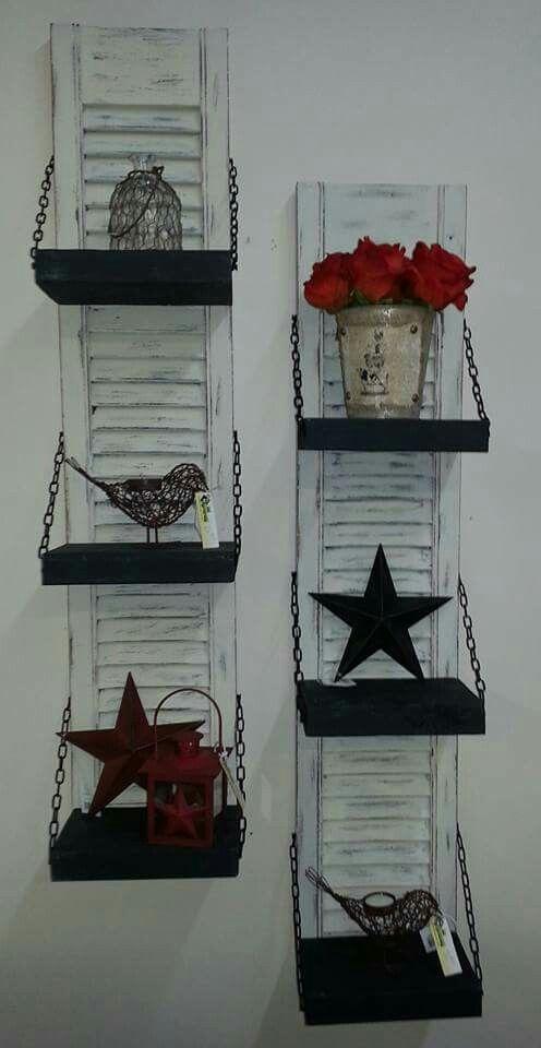 Repurposed, upcycled shutter shelves!