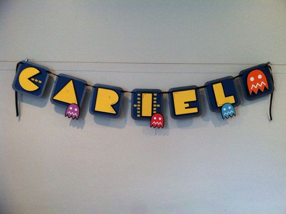 Custom Pacman Birthday Banner  with optional by KarisScrapShop