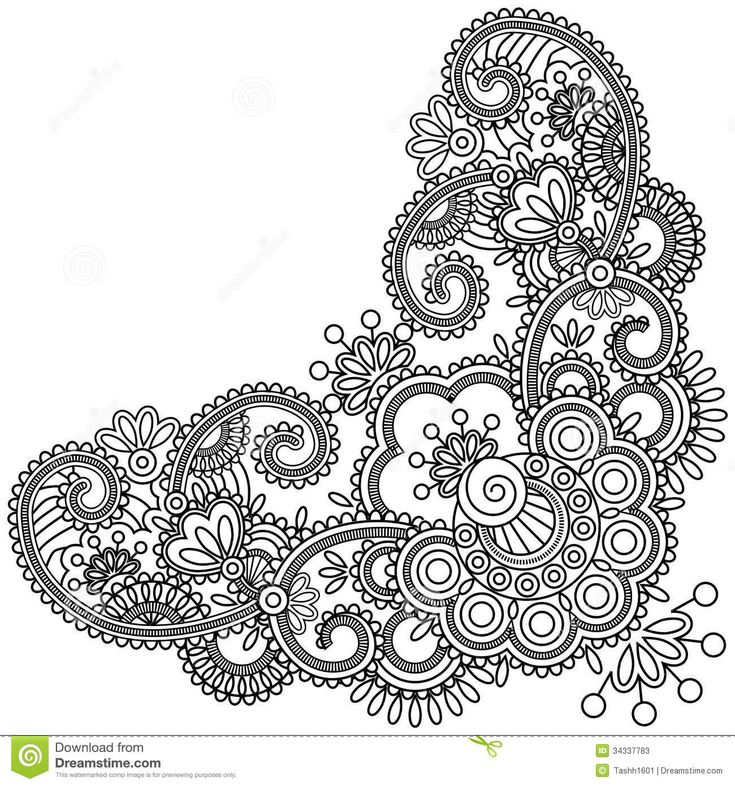 Doodle Henna Abstract Flowers Swirls Stock Photos – 50 Doodle ...