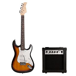 Pack Guitarra Eléctrica Café Sunburst + Amplificador 10 Watts 79000, Incluye  1 funda 3 uñetas 1 correa 2 pcs destornillador 1 cable Amplificador Epic 10W