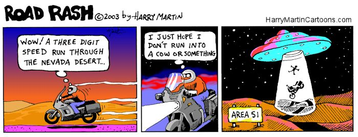 motorcycle comics | Road Rash Motorcycle Cartoons - Area 51 by Harry Martin