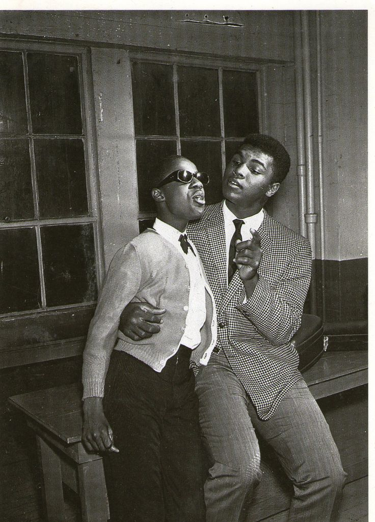 13-year-old Stevie Wonder and Muhammad Ali, 1963
