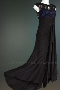 Zwarte jurk met kanten top en blauw detail 0689