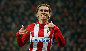 Feb. 21st. 2017: Antoine Griezmann celebrates scoring the second goal in an Atletico Madrid Champions League win over Bayern Leverkeuson