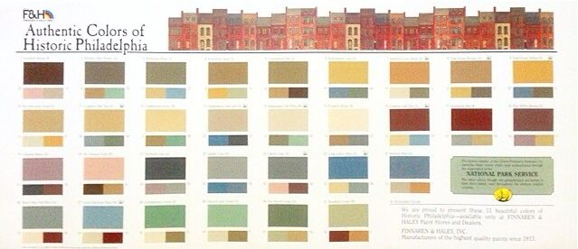 F&H Paint | Authentic Colors of Historic Philadelphia [once had linked to http://fhpaint.com/architectural/docs/historic_phila.html but now appears to be broken]