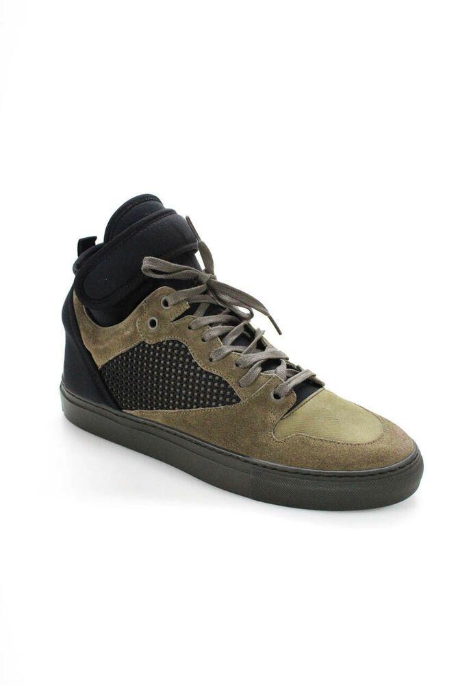 c547419f71b0 eBay  Sponsored Balenciaga America Mens Leather Gomma High Top Sneakers  Green Black Size EUR 40