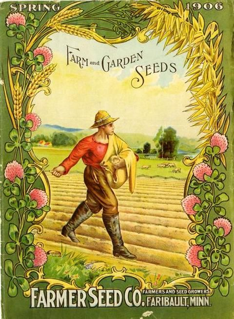 On the front cover of the 1906 Farmer Seed & Nursery catalog, an industrious farmer is shown sowing seeds in his field.  Presumably these were seeds purchased from this catalog.  Sheep peacefully graze in the background and the entire scene is framed with a wheat, oat, and clover border.  Farmer Seed & Nursery originated in Faribault, MN in 1888. Andersen Horticultural Library hosts a collection of vintage Farmer Seed & Nursery catalogs.