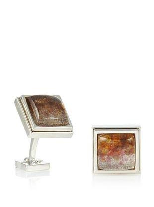 Ike Behar Artisan Pate De Verre Clear/Gold Glass Cufflinks