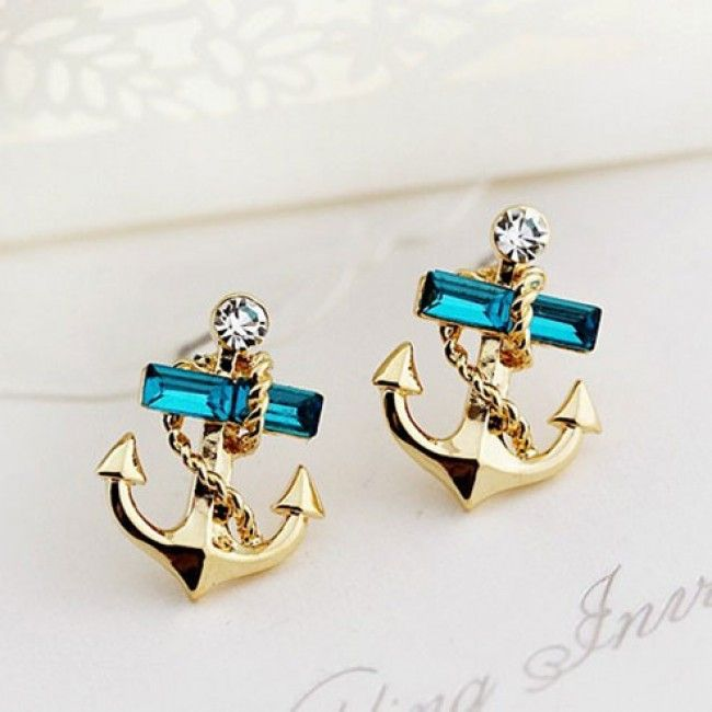 I find this Lovely Rhinestone Ocean Navy Gilded Sailor Anchor Earrings for long time~! At last I found it from AtWish.com.