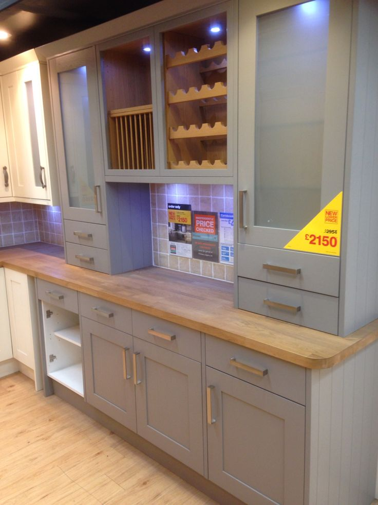 Best Grey Kitchen With Oak Worktop B Q Kitchen Inspirations 400 x 300