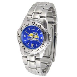 """South Dakota State Jackrabbits NCAA AnoChrome """"Sport"""" Ladies Watch (Metal Band) by SunTime. $63.00. Rotation Bezel/Timer. Calendar Date Function. Scratch Resistant Face. This handsome, eye-catching watch comes with a stainless steel link bracelet. A date calendar function plus a rotating bezel/timer circles the scratch resistant crystal. Sport the bold, colorful, high quality logo with pride. The AnoChrome dial option increases the visual impact of any watch with a s..."""