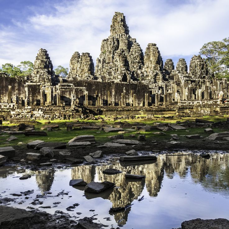 Bayon Temple Siem Reap Cambodia. For help with planning your trip budget visit http://rtwme.com/blog/cost-of-cambodia/