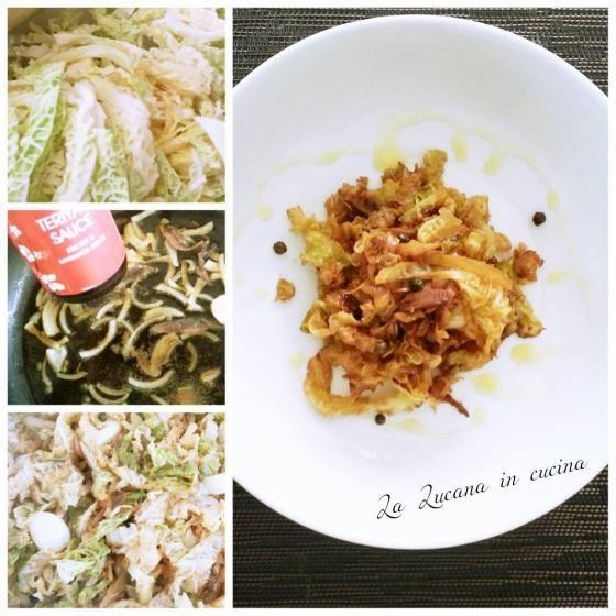 Verza con salsa di soia e acciughe  #ricette #food #recipes