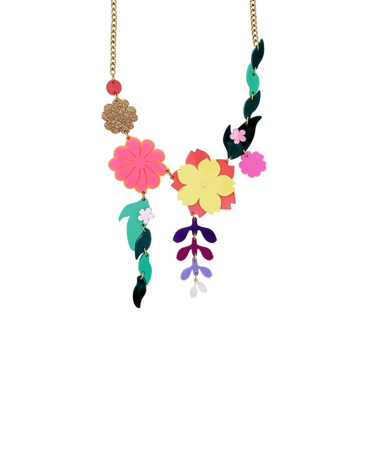 Kimono Bloom Link Necklace - With influences stemming from Japanese textiles and the art of flower arranging, the Kimono Bloom Link Necklace blossoms in an array of pearlescent, glitter and colour pop acrylic. A bold bouquet bursts into bloom, while cascading wisteria add a delicate touch to this botanical design. This necklace is part of a numbered edition of 150 and comes with an exclusive certificate of authenticity.