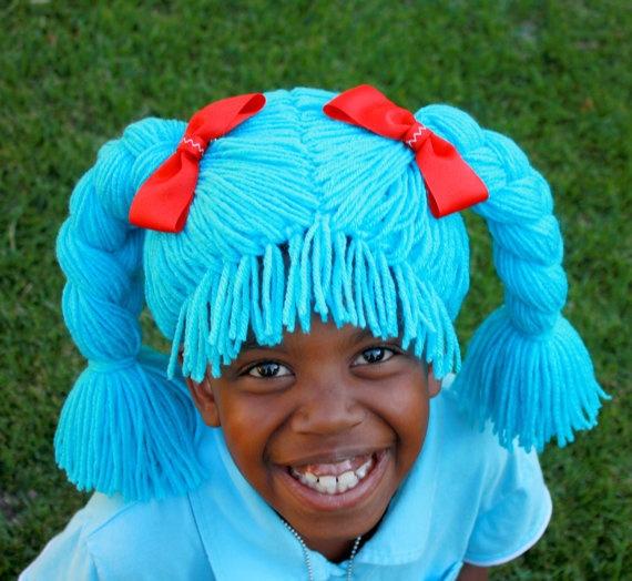 Customized Doll Wig- Girl Halloween Costume- Princess Wig- Doll Costume- Custom Wig- Yarn Wig- Photo Prop- Girl Wig  #wig #lalaloopsy #doll #blue #handmade #Halloween #costume #adult #kids #baby #costumes #wigs