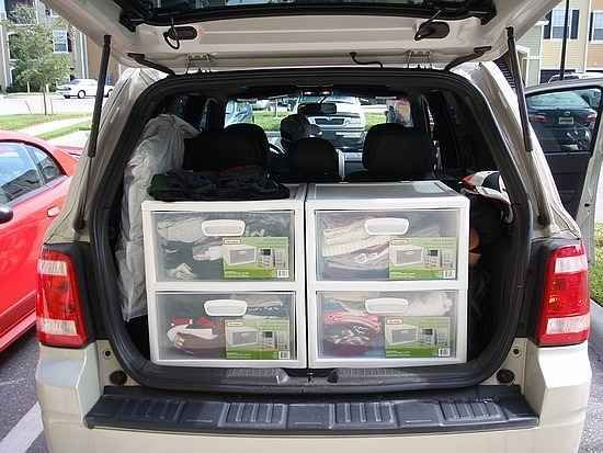 Road trip tips: instead of packing lots of suitcases, use stacking totes. You can grab just what you need for the night!