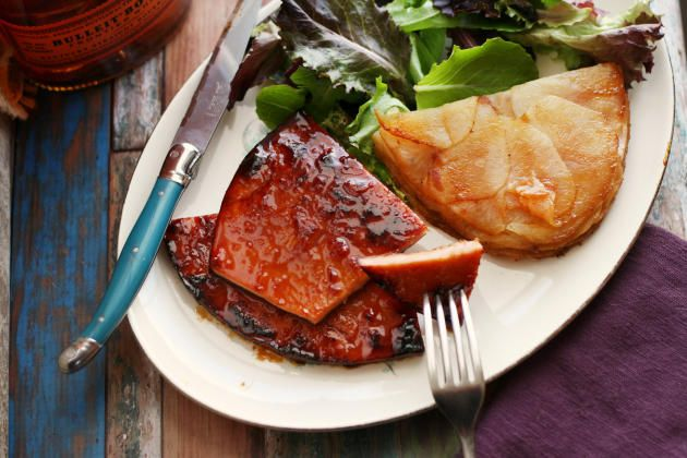 Ham Steak glazed with maple and bourbon. Booze up your favorite Easter meal for delicious  flavor.