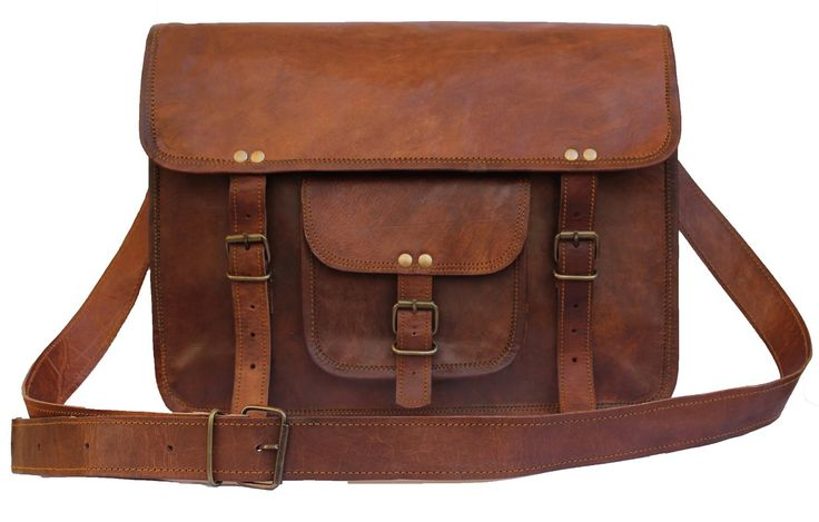 Original handmade leather bag with dark brown color and metal fittings. Three internal compartments. Two zipper pockets. One zipper pocket for mobile etc. Dimensions: (WxHxD) 15 x 11 x 4 in (38 x 28 x 10 cms). Can easily accommodate 14 inch mac air and other laptops.